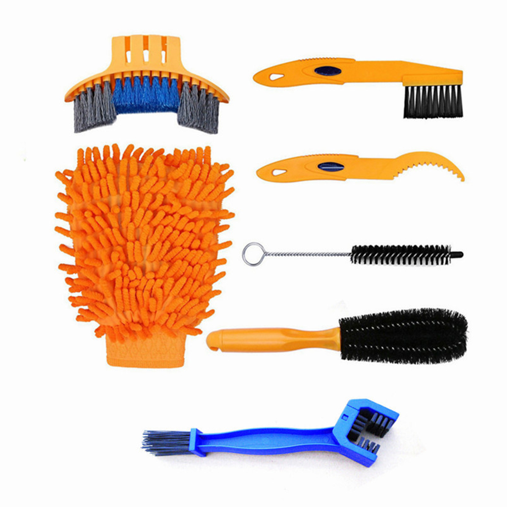 Bicycle Chain Washer Set Mountain Bike Accessory Bike Too Cleaning Brush 7-piece set_One size
