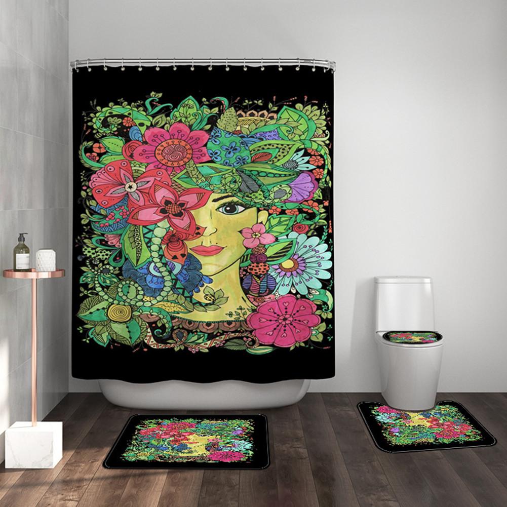 4pcs/set Shower Curtain Bathroom Carpet Mat Rug Toilet Lid Cover Girl Print Bathroom Set As shown_443 #