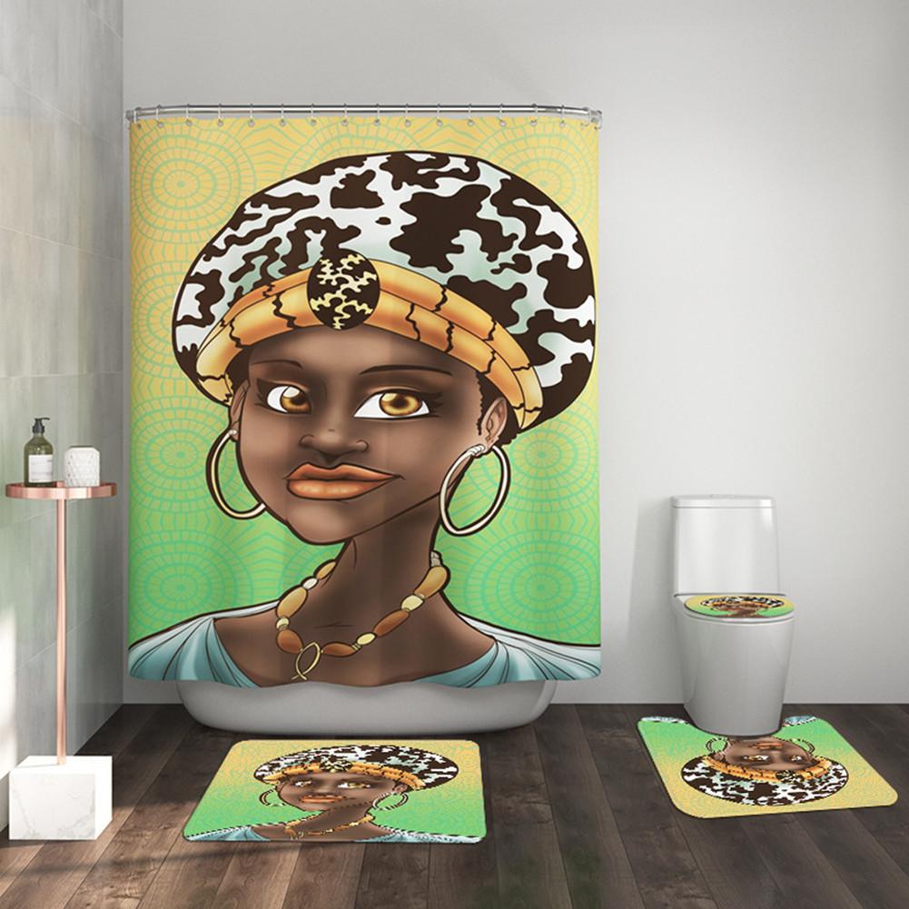4pcs/set Shower Curtain Bathroom Carpet Mat Rug Toilet Lid Cover Girl Print Bathroom Set As shown_436 #