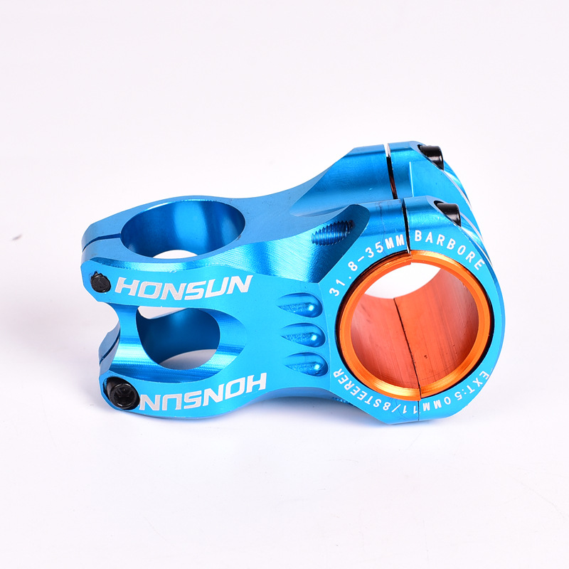 HONSUN Bicycle Stem Handlebar 31.8mm*50mm Cross-country XC AM Aluminum Alloy CNC Bike Accessories 50MM blue