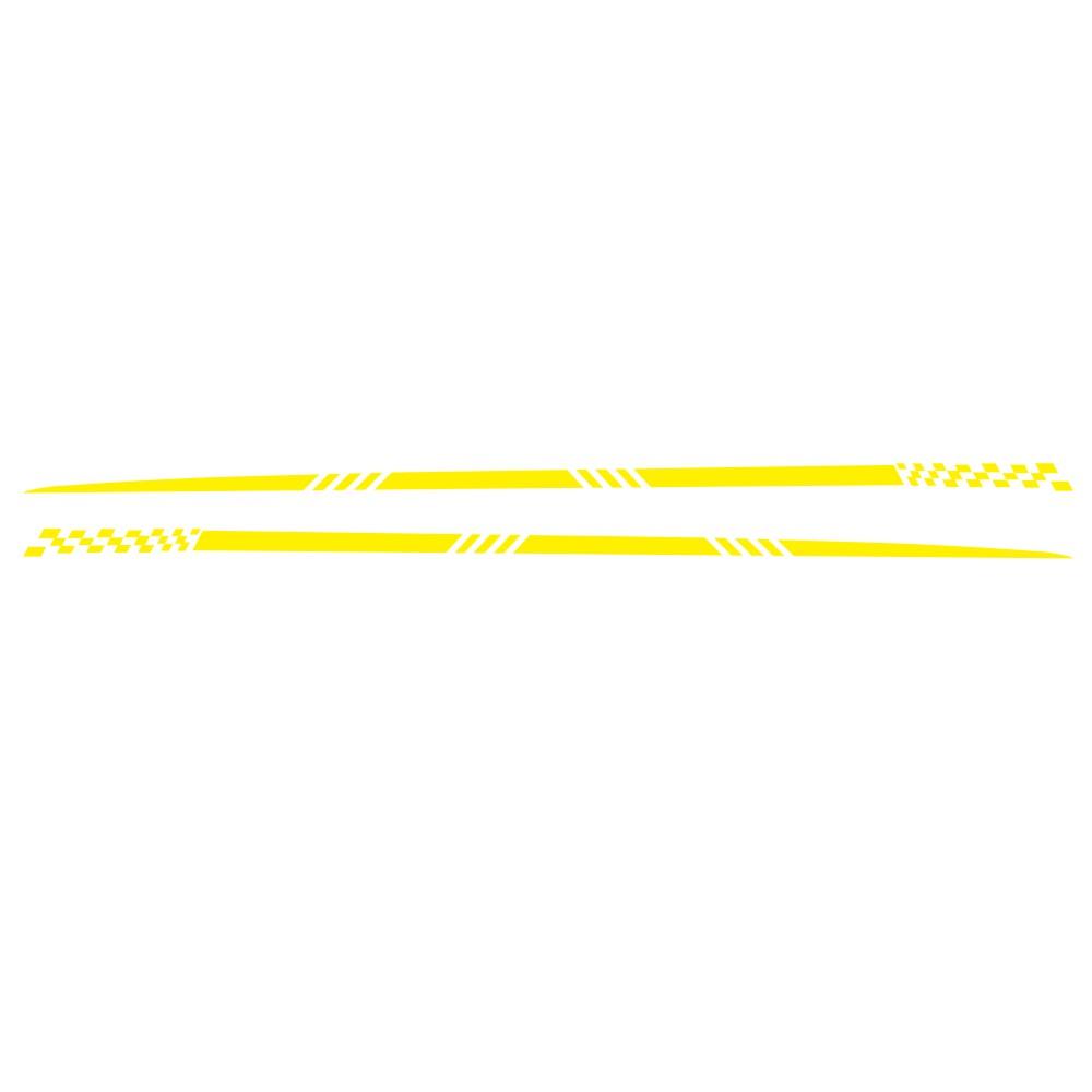 2pcs Universal Car  Decals Body Side Stripe Hood Sticker For All Car Vinyl Bumper Decals yellow