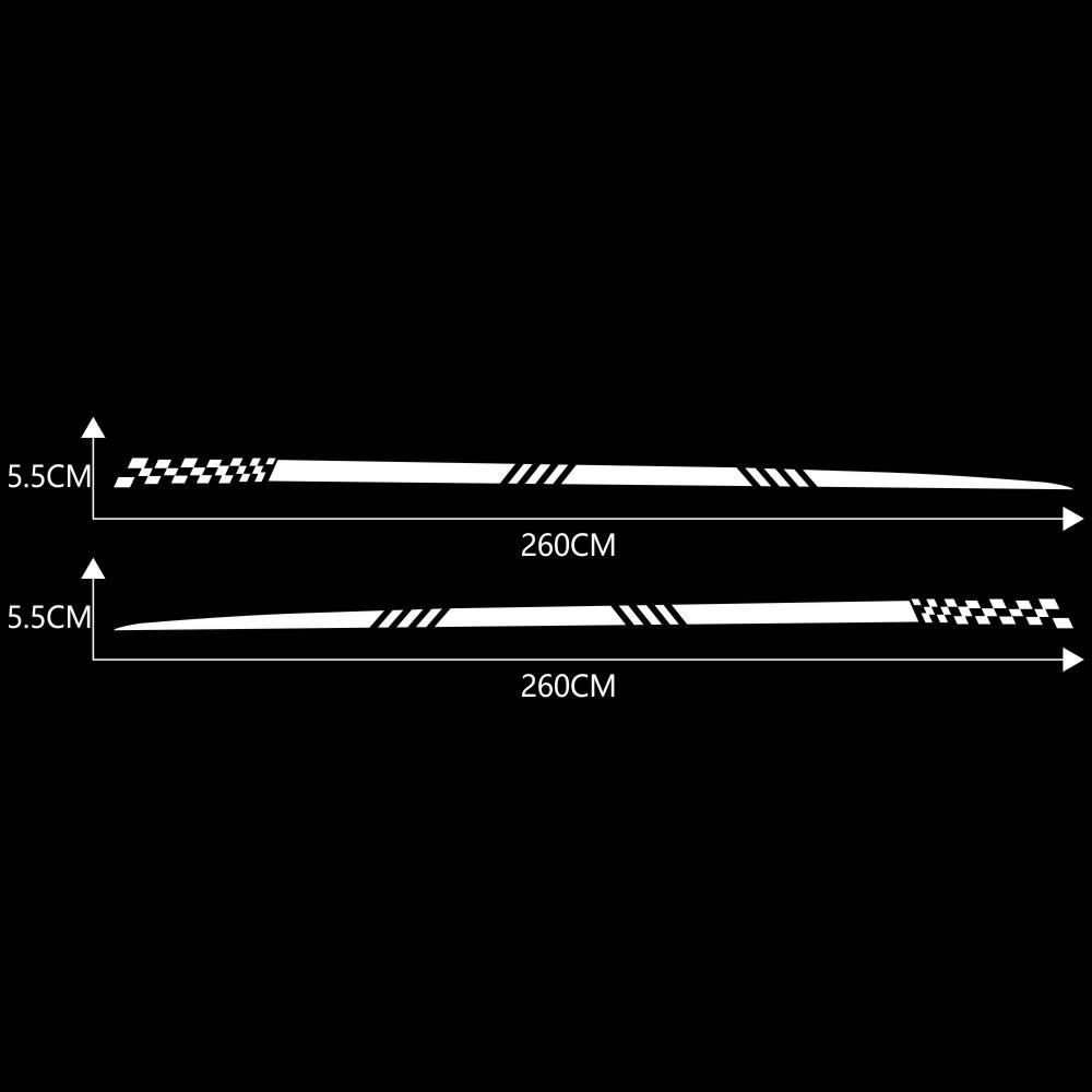 2pcs Universal Car  Decals Body Side Stripe Hood Sticker For All Car Vinyl Bumper Decals white