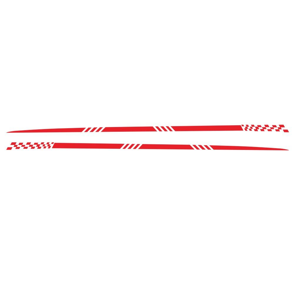 2pcs Universal Car  Decals Body Side Stripe Hood Sticker For All Car Vinyl Bumper Decals red