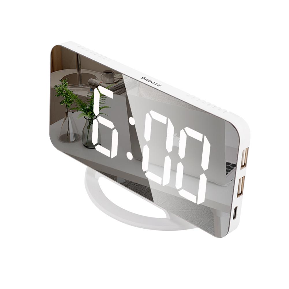 Multifunctional  Mirror  Clock Led Makeup Mirror Digital Alarm Clock For Household Living Room TS-8201-W (white shell white light)