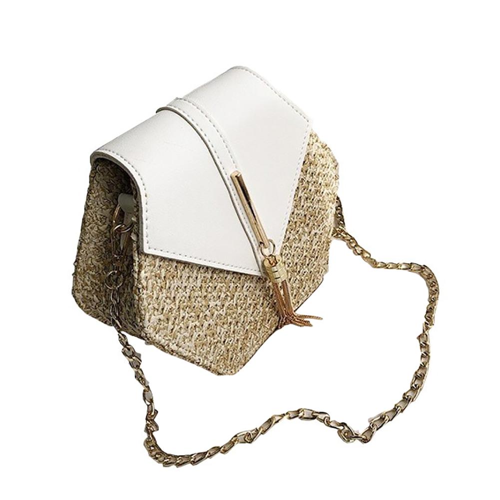 Women PU Hexagonal Straw Weaving Single Shoulder Chain Fringes Square Cross-Body Bag white