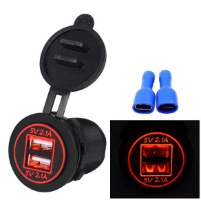 High Quality Waterproof Dual USB Aperture 4.2A 12V-24V Car Charger with Light Indicator red