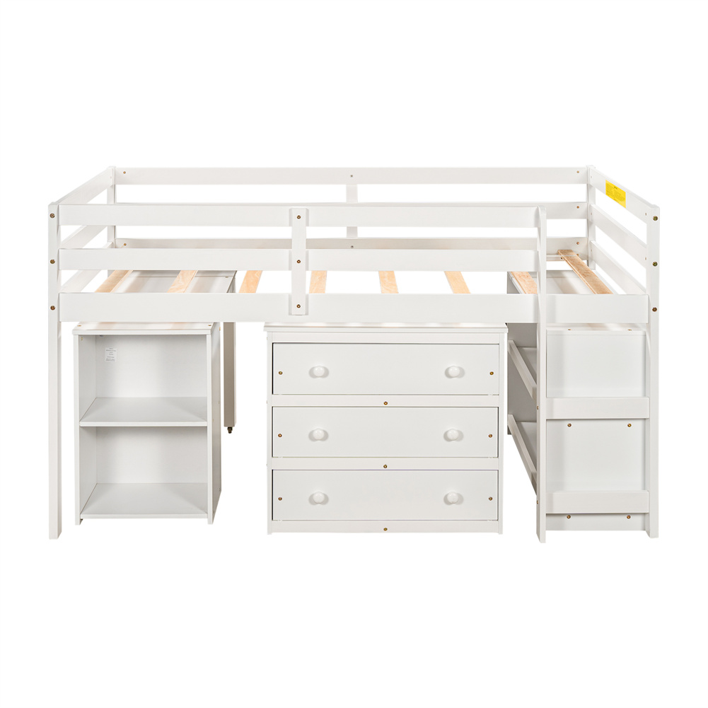 [US Direct] Twin Size Loft  Bed With Cabinet+detachable Portable Desk Household Furniture White