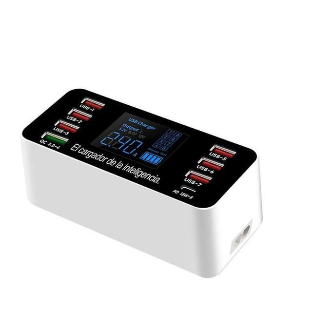 8-USB Ports Smart Socket Phone Charger QC3.0 60W Multi-Port HUB USB Adapter Quick Charge Station LED Display EU Plug