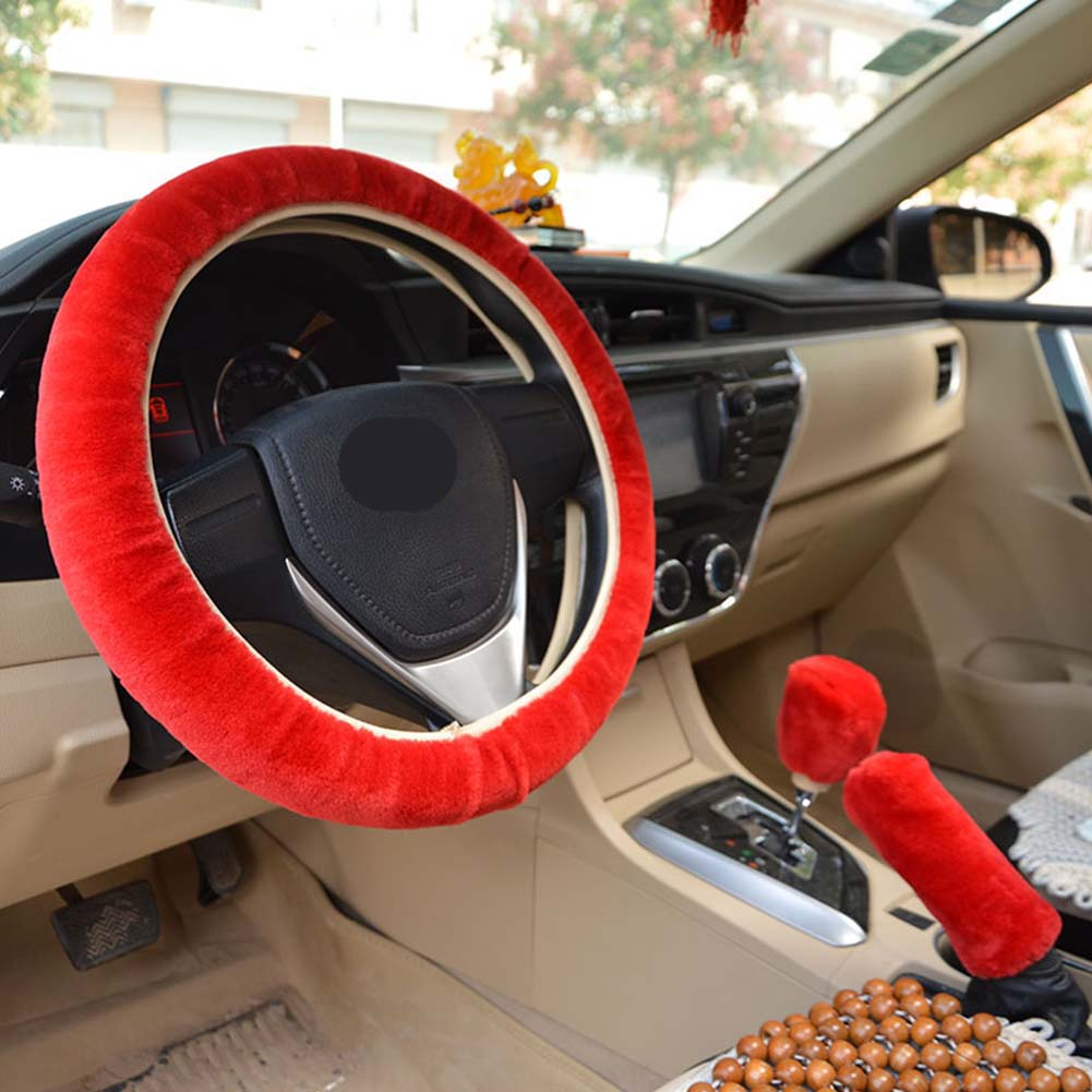 Warm Fur Automotive Steering Wheel Cover Universal Steering-wheel Plush Car Steering Wheel Covers Red_Steering wheel cover + hand brake cover + gear cover