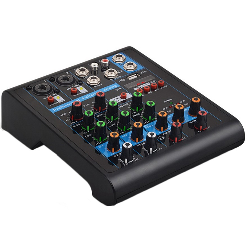 Professional 4-Channel Small Bluetooth Mixer with Reverb Effect for Home Karaoke USB Live Stage Karaoke Performance  EU plug