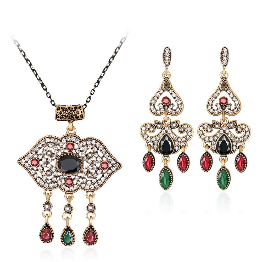 Women Fashion Jewelry Sets Retro National Style Exquisite Rhinestone Studded Longevity Lock Jewelry Necklace Earring