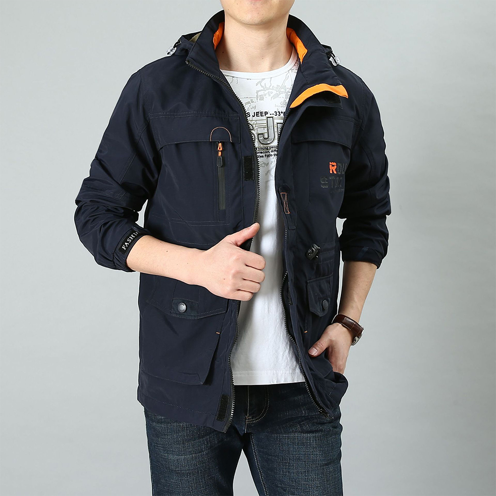 Male Long Sleeves Zippered Sports Wear Casual Hooded Cardigan Outwear Cycling Skiing  sapphire_M