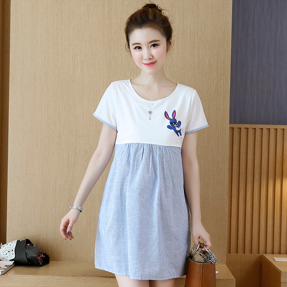 Simple Short Sleeve Stripes Printing Matching Dress for Pregnant Woman Photo Color_M