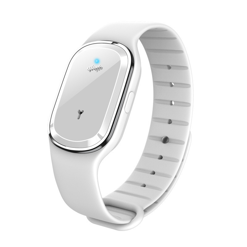 Portable Ultrasonic Mosquito Repellent Bracelet Pest Repeller Wrist Watch USB Charging Style white
