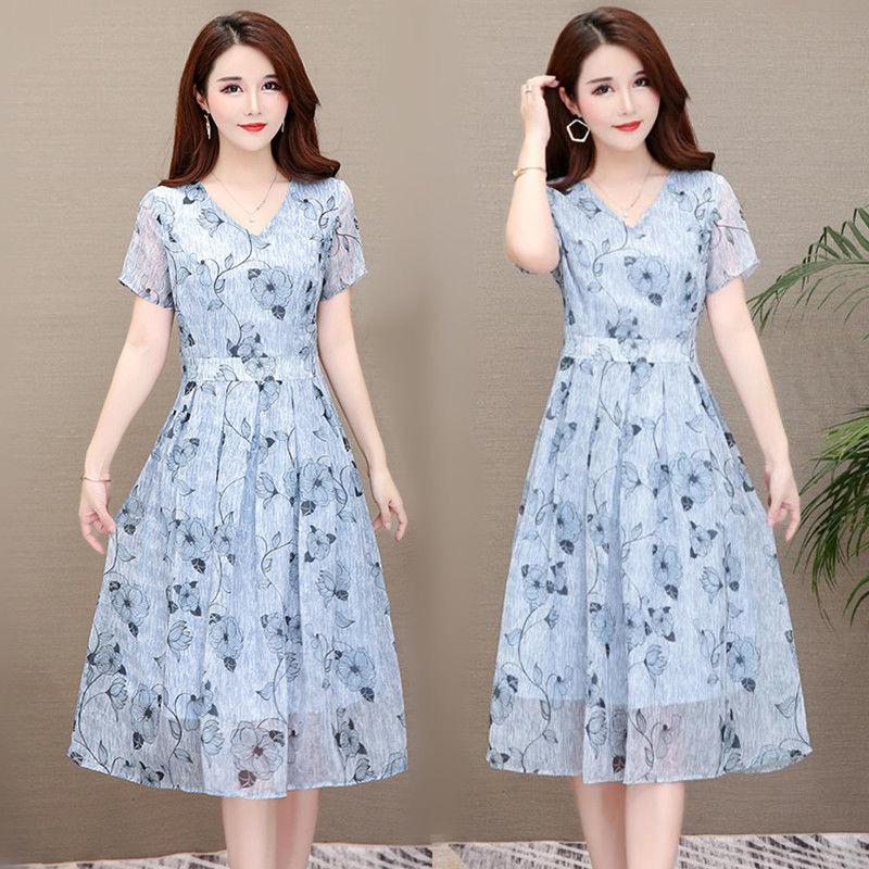Summer Slim V-neck Floral Dress Elegant Short Sleeves Middle Long Printing Causal Dress blue_M
