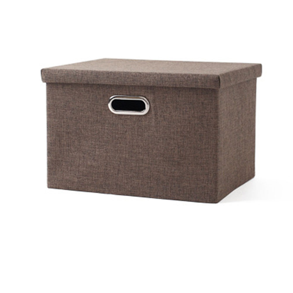 Folding Square Storage Utility Box Fabric Cube Drawer Organizer Cloth Basket Bag Brown_small