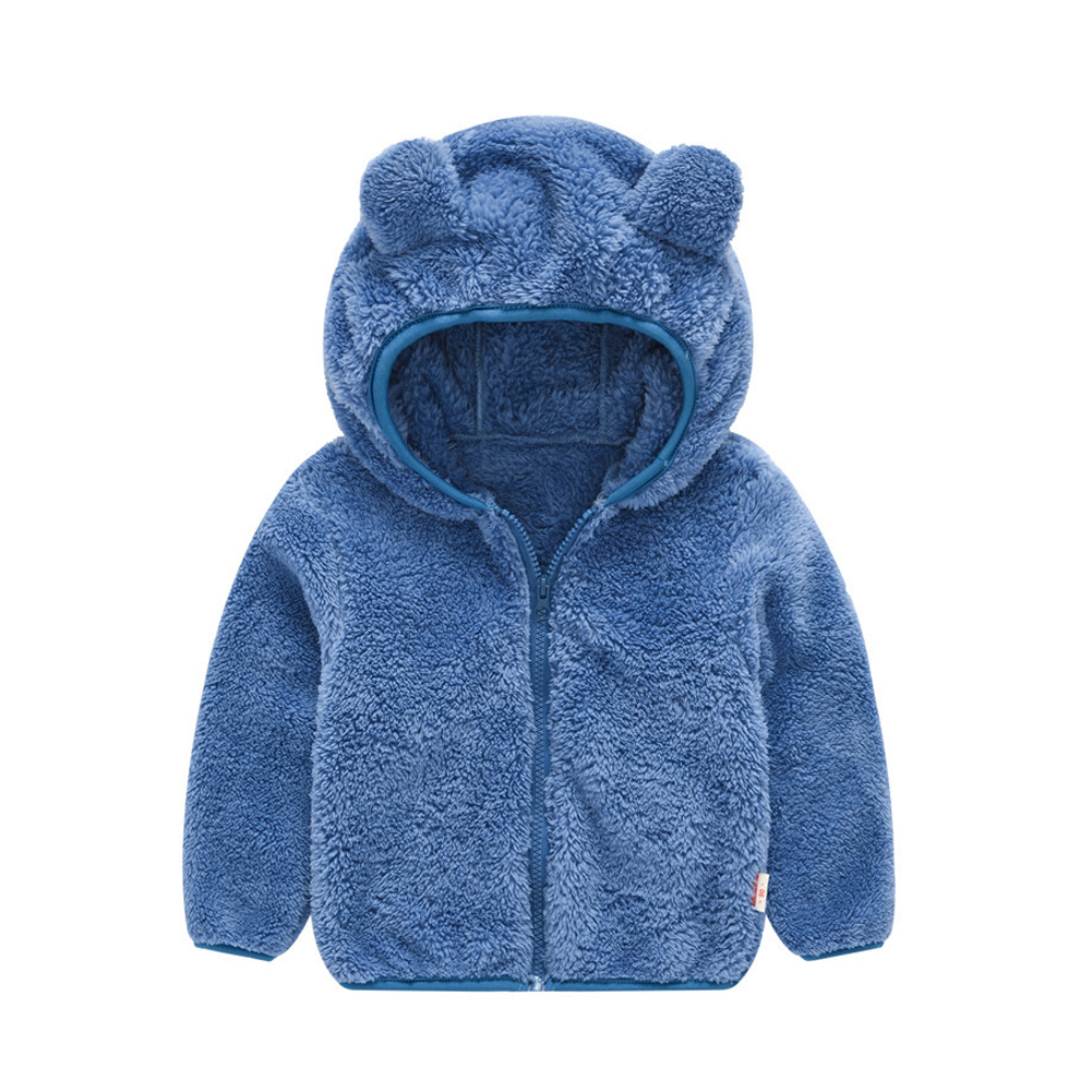 Boy Girl Baby Hooded Jacket Thick Long Sleeve Solid Color Cute Bear Ears Coat blue_100cm