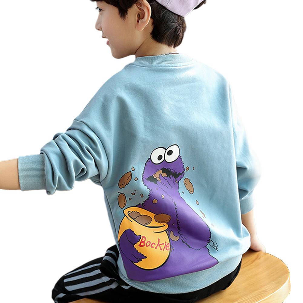 Boy Cartoon Printed Long Sleeve Jacket Sweatshirts for Children Campus Sports JLC Light Blue beast_140cm