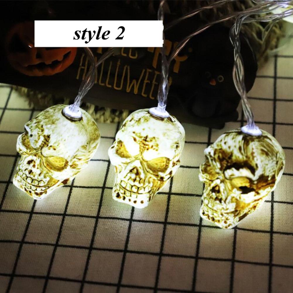 LED String Light Pumpkin/Skeleton/Skull Shape Night Light for Halloween Party Bar Decor(Without Battery) 1.5 m 10 lights