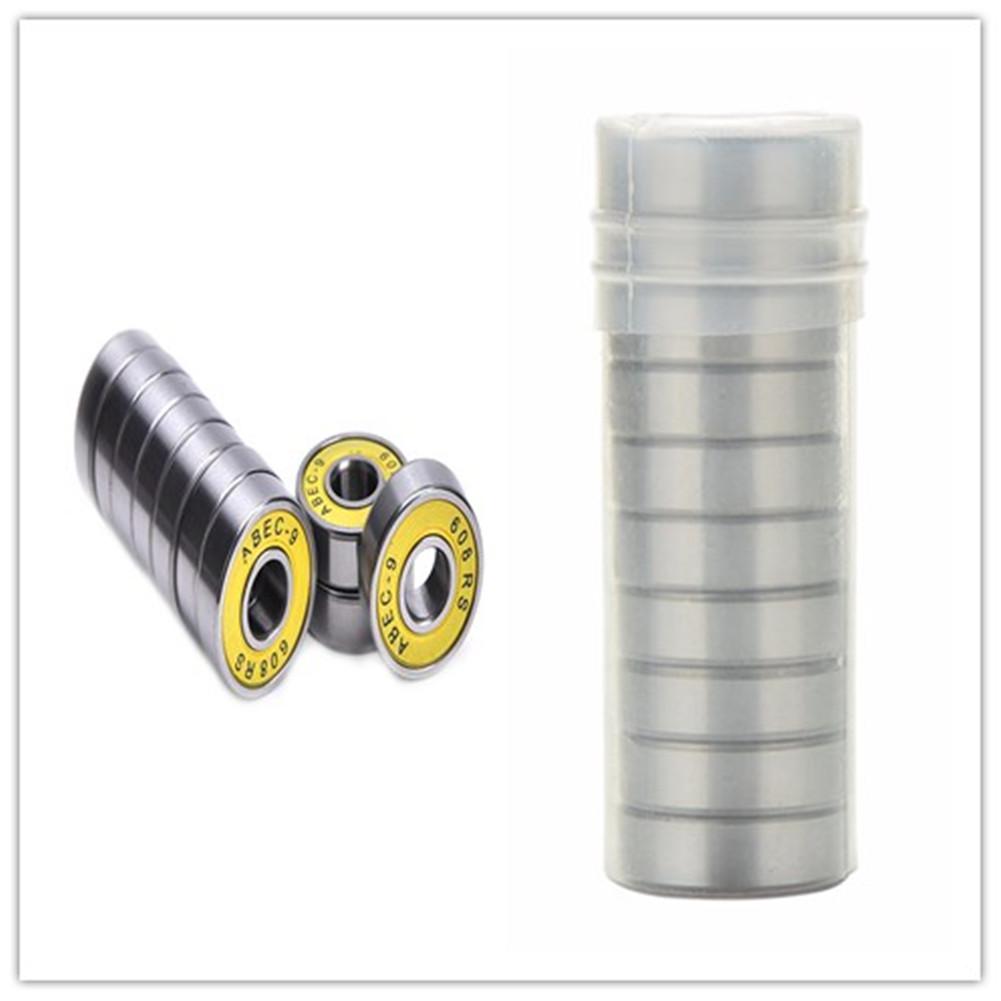 10PCS Chrome Steel Bearings for Roller Skate Scooter Skateboard Wheel Yellow cover_ABEC-9
