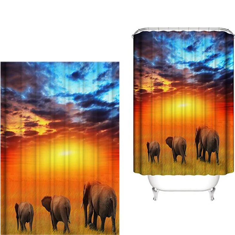 Elephant Theme Printing Shower  Curtain For Bathroom Bathtub Waterproof Curtain Grass walking elephant_150*180cm