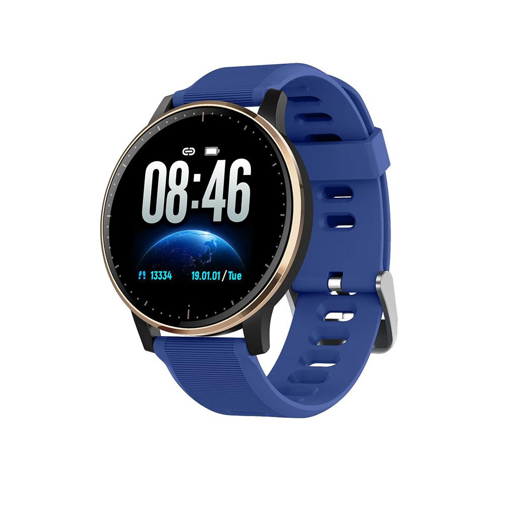 Q20 Smart Bracelet Touch Screen Heart Rate Blood Pressure Sleeping Detectiopn Sport Step Count Waterproof sea blue