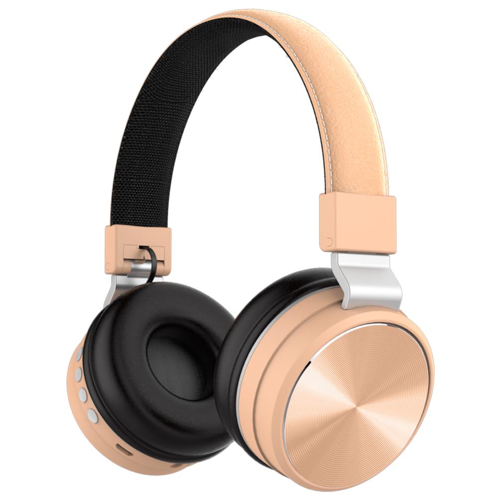 Wireless Headphones Bluetooth Over Ear FM Bass Sports Music Headset Gold