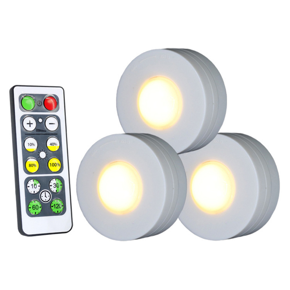 3Pcs Wireless LED Lights Closet Lights with Remote Control Pat Light for Kitchen Under Cabinet Lighting Warm white light 3000K