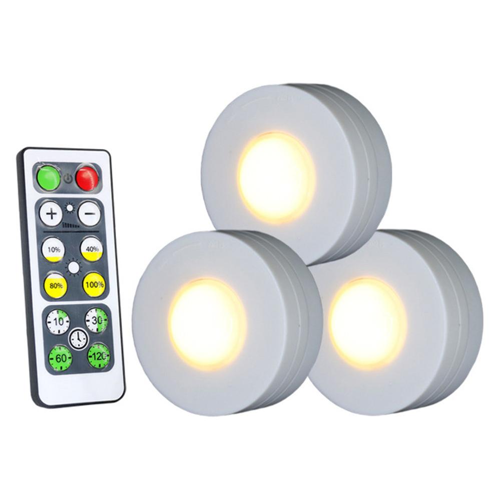 3Pcs Wireless LED Lights Closet Lights with Remote Control Pat Light for Kitchen Under Cabinet Lighting Warm white light 3000K
