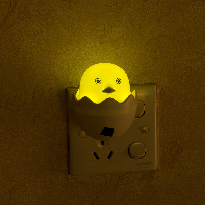 LED Intelligent Light Control Cartoon Yellow Duck Shape Night Light Plug Style yellow_European regulations