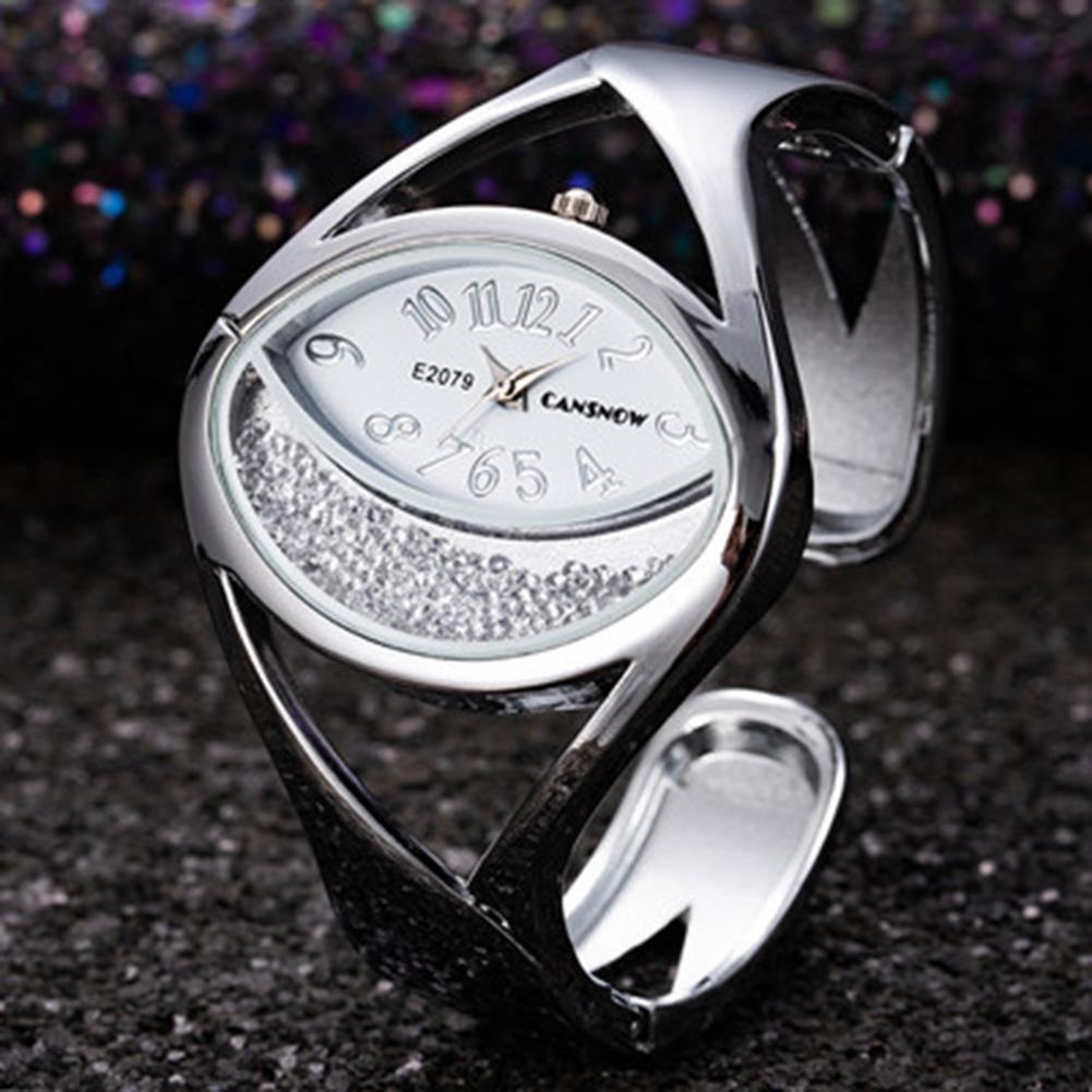 Women Ladies Fashion Silver Luxury Rhinestone Bracelet Watch Wristwatch white