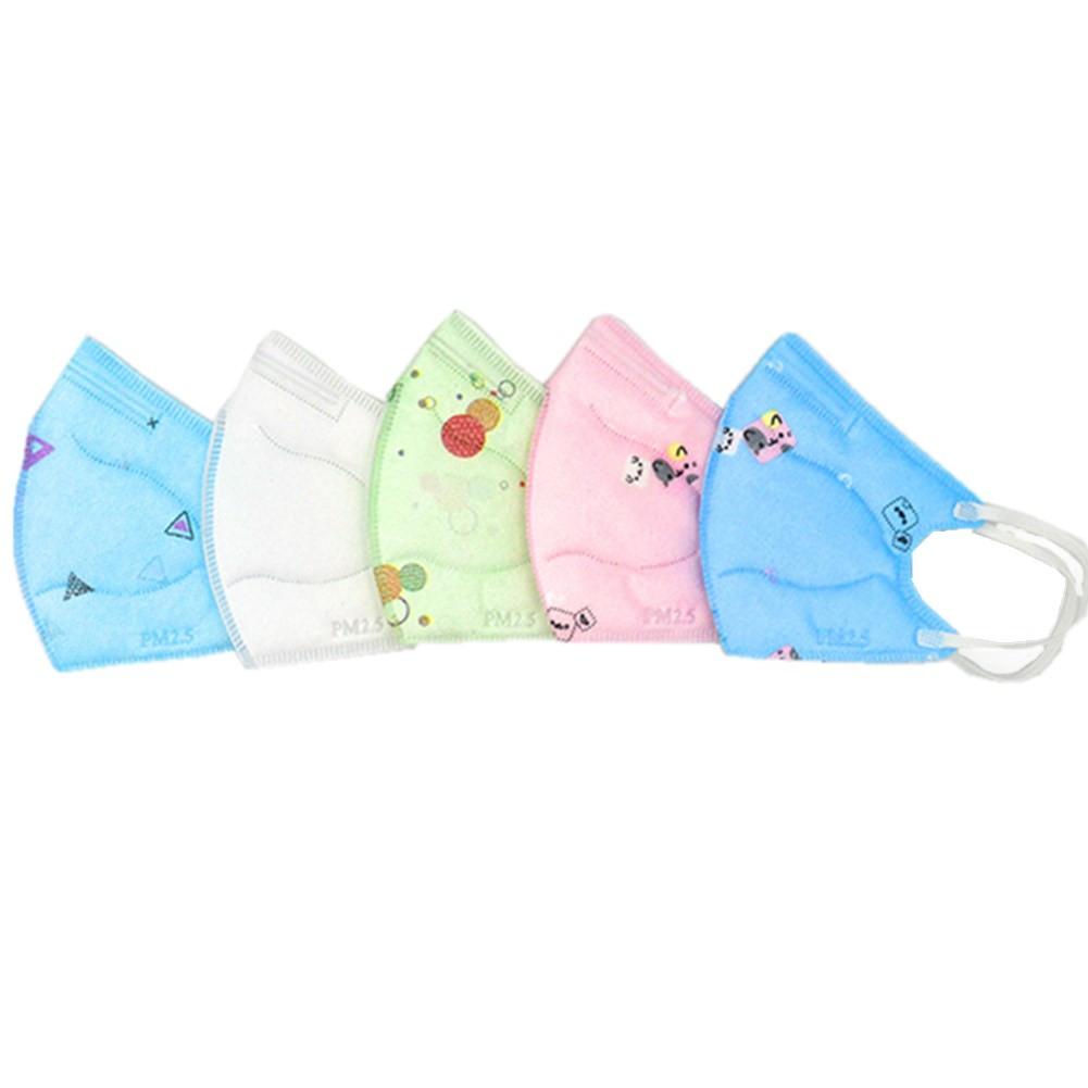 5pcs/set Children Face Guard 3D PM2.5 Melt-blown Fabric Protective Covers with Cartoon Pattern Decor Random Color_5pcs