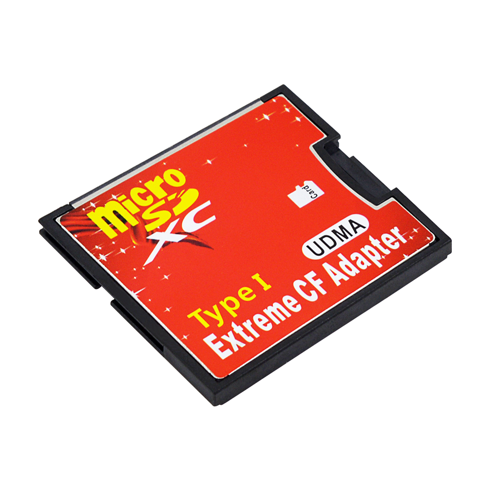 High Speed Micro SD TF to CF Card Adapter MicroSD SDXC to Compact Memory Card Type I Reader Converter red