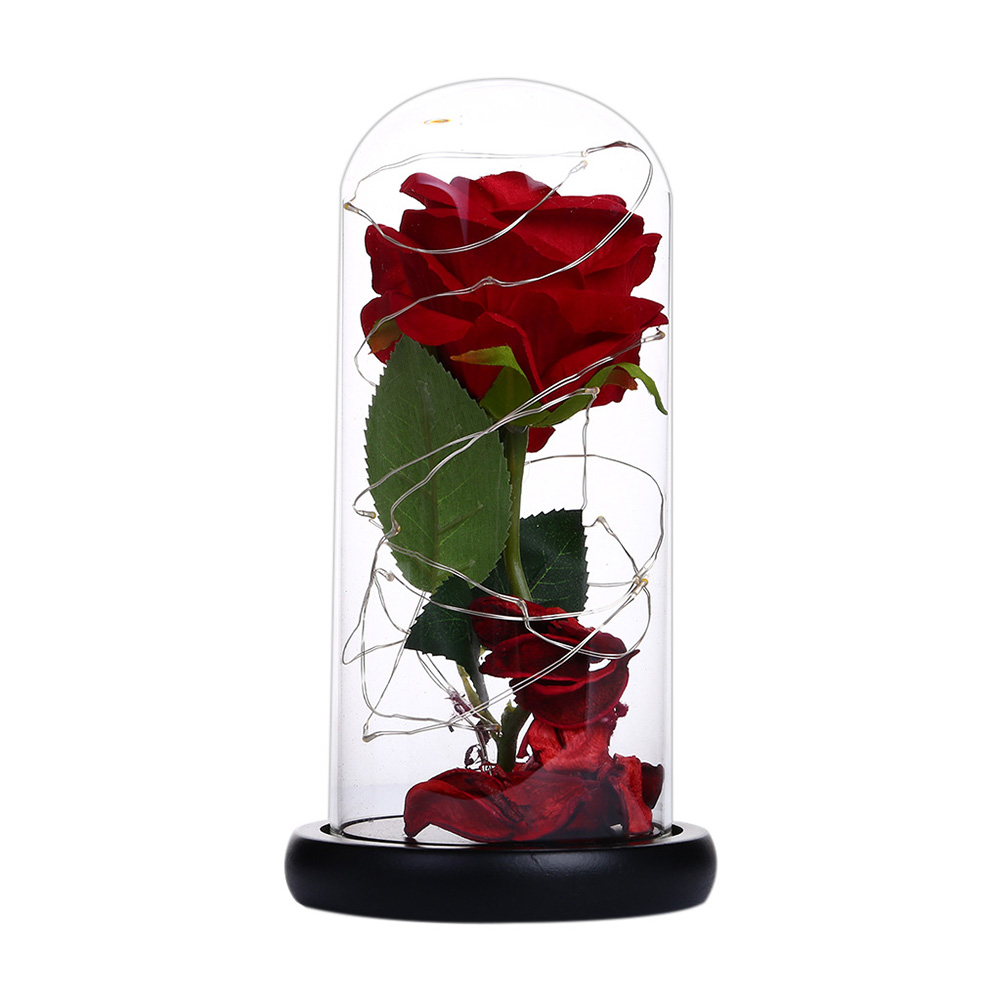 Rose LED Light Night Lamp Glass Dome Wedding Party Ornaments Valentine's Day Gift large