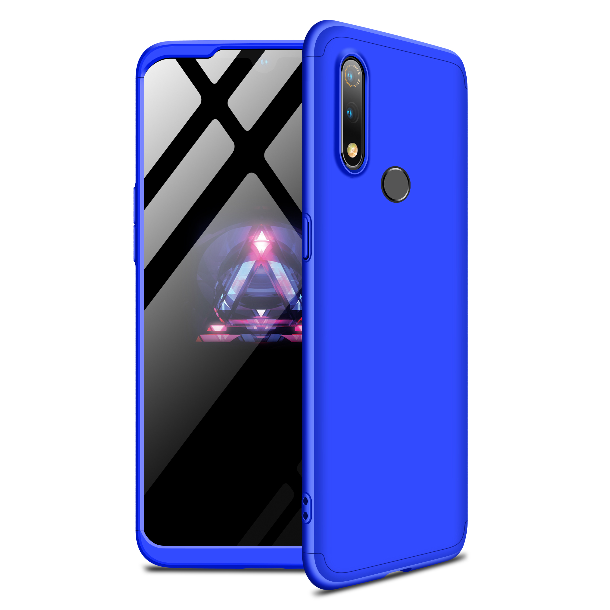For Oppo Realme 3 pro Ultra Slim PC Back Cover Non-slip Shockproof 360 Degree Full Protective Case blue