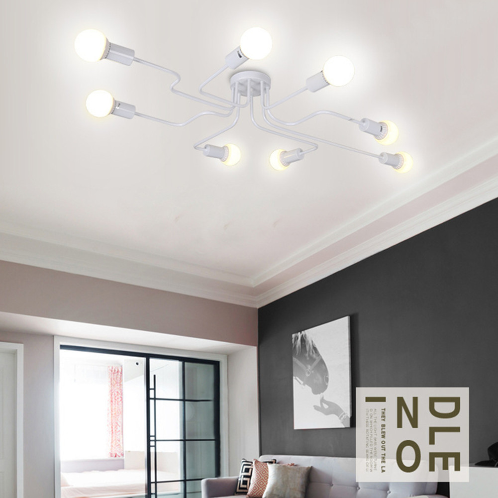 Vintage Wrought Iron Led Ceiling Lamp Living Room Bedroom Lamparas for Home Lighting 6 white