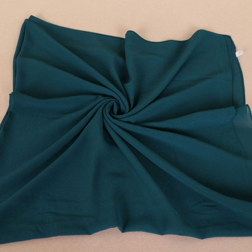 Women Muslim Style Solid Color Chiffon Large Square Headscarf
