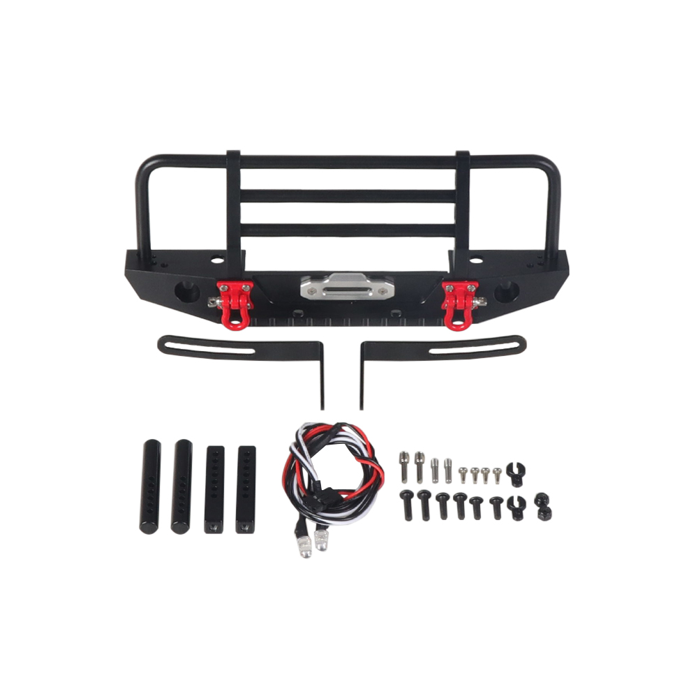 Metal Front Bumper with Light for 1/10 RC Crawler Car Axial SCX10 90046 Traxxas TRX-4 TRX4 black