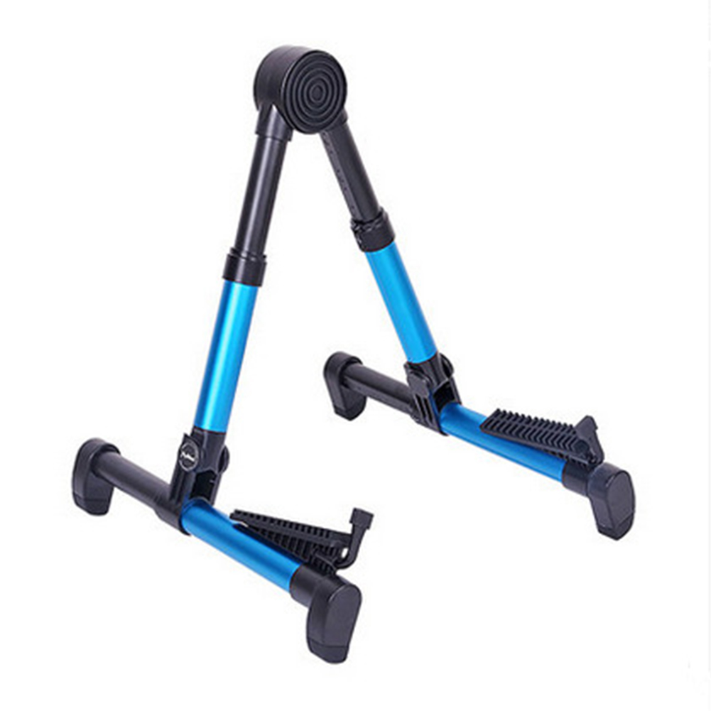 Portable Aluminum Floor Guitar Stand Adjustable Foldable Stand for All Types of Guitars, Basses, Ukuleles and Violins, Banjo blue_FP10S