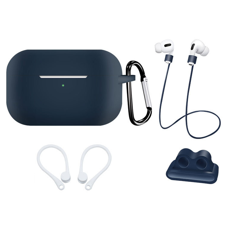 Earphone Protective Case for AirPods Pro Soft Silicone Shell+Carabiner+Anti-lost Strap+Ear Hook+Watch Buckle Midnight blue