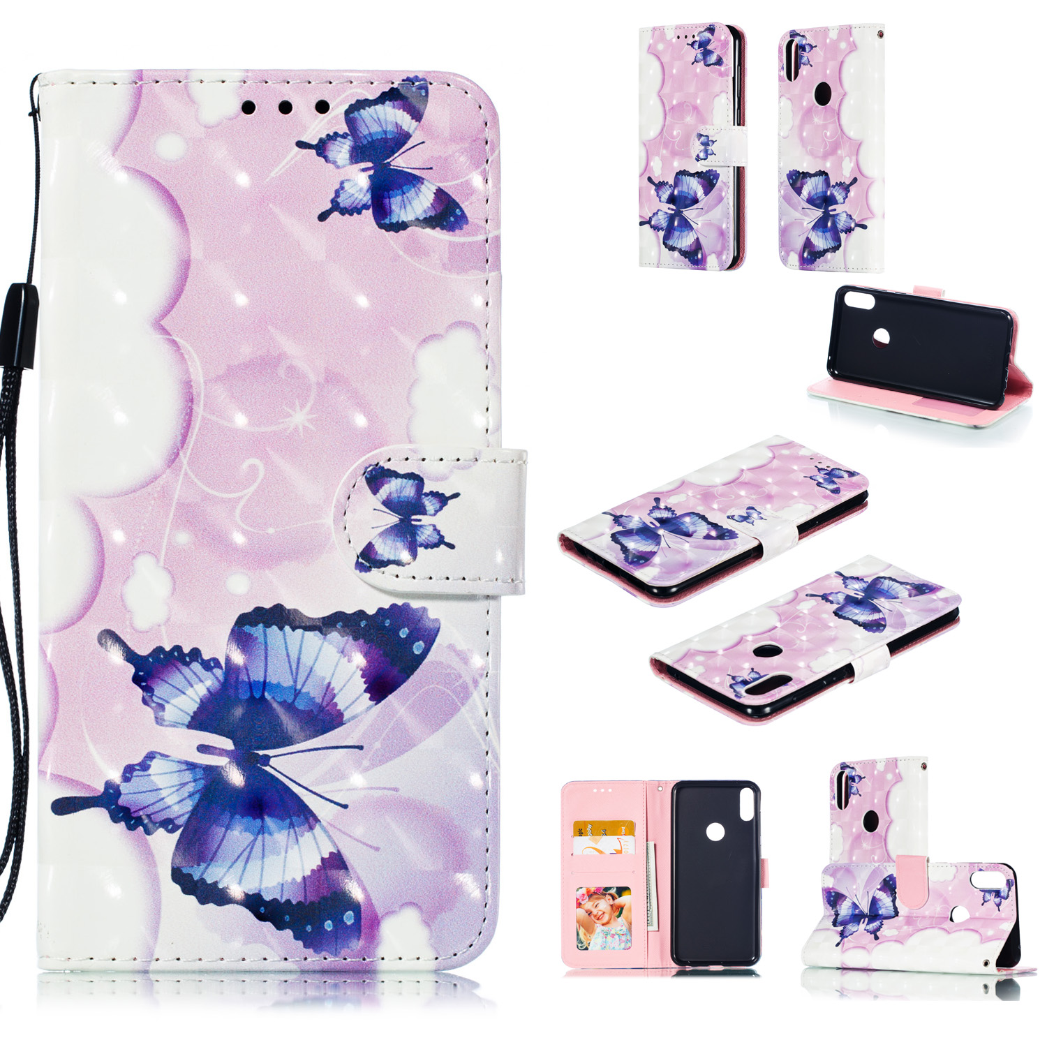 For ASUS ZENFONE MAX Pro M1/ZB601KL/ZB602KL 3D Coloured Painted PU Magnetic Clasp Phone Case with Card Slots Bracket Lanyard Swallowtail butterfly