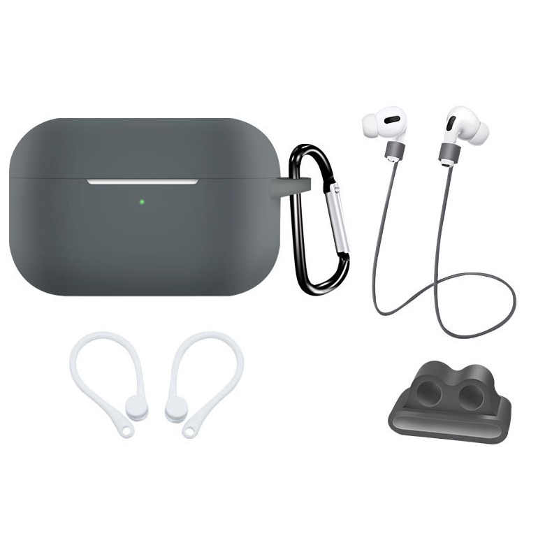 Earphone Protective Case for AirPods Pro Soft Silicone Shell+Carabiner+Anti-lost Strap+Ear Hook+Watch Buckle Gray