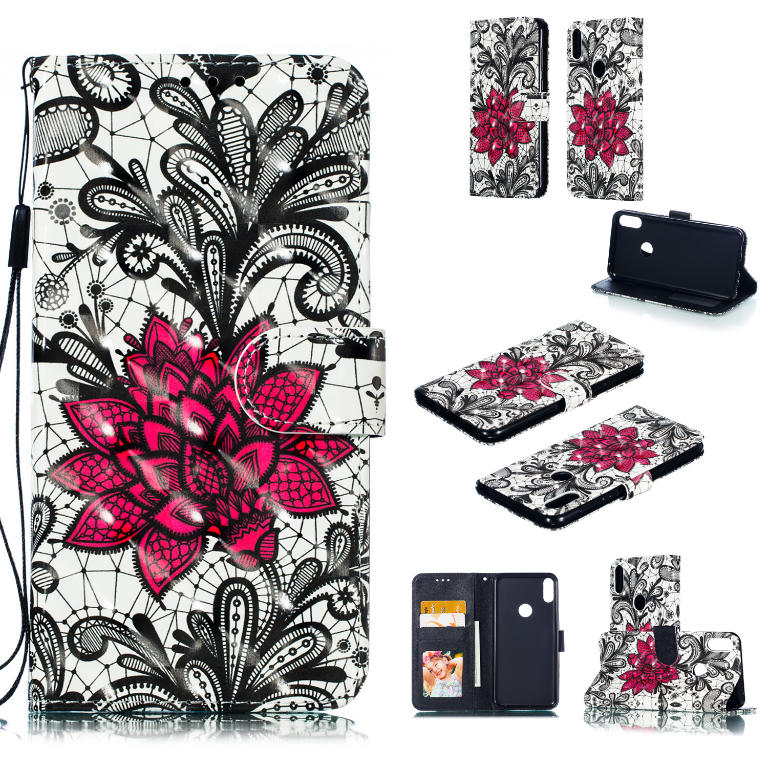 For ASUS ZENFONE MAX Pro M1/ZB601KL/ZB602KL 3D Coloured Painted PU Magnetic Clasp Phone Case with Card Slots Bracket Lanyard Lace flower