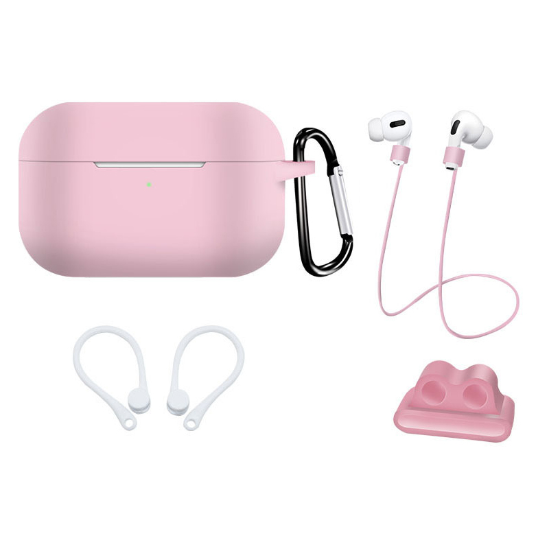 Earphone Protective Case for AirPods Pro Soft Silicone Shell+Carabiner+Anti-lost Strap+Ear Hook+Watch Buckle Pink