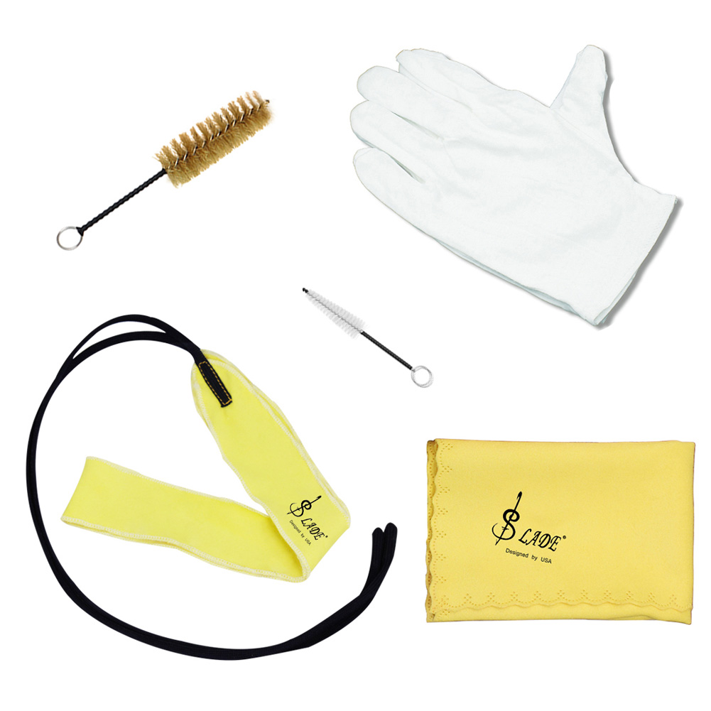 5pcs/lot Trumpet Cleaning Tools Care Suit Tube Cloth Piston Brush Mouthpiece Brush Wiper Gloves Kit yellow