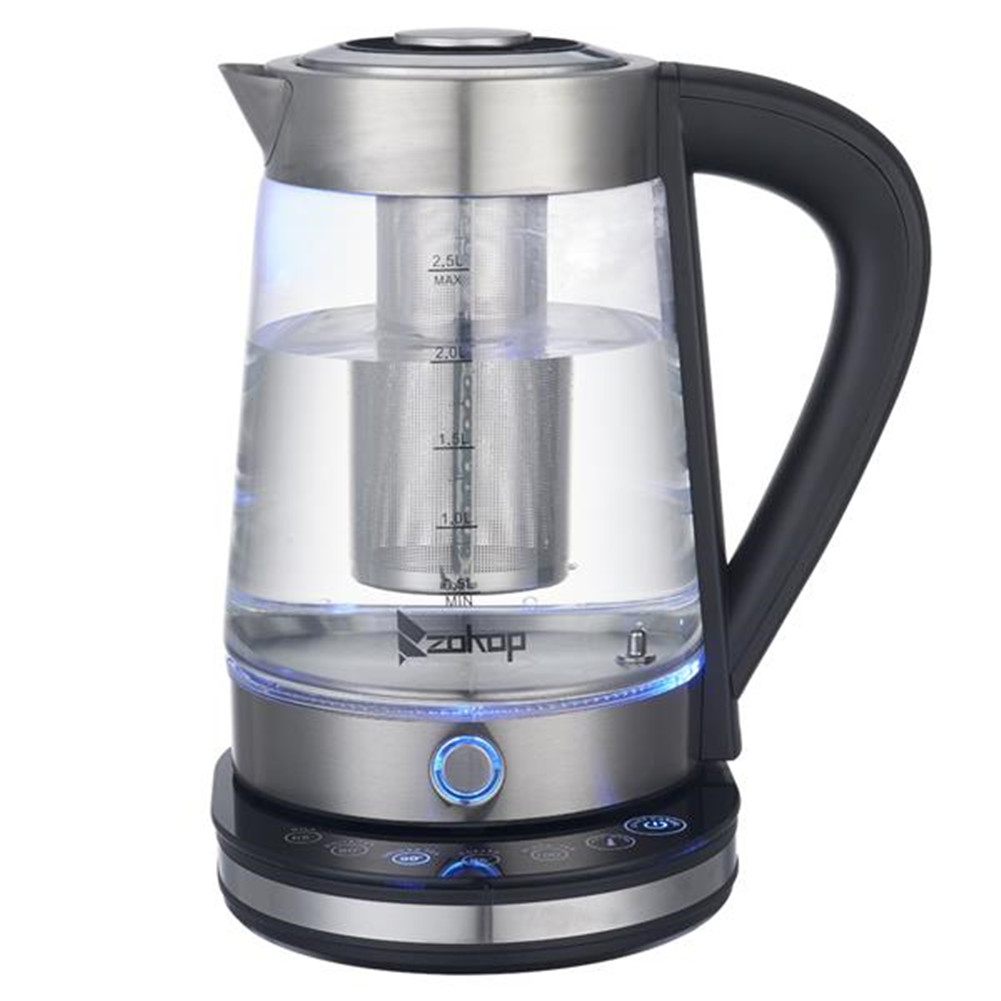 [US Direct] 2.5L Electric Glass Kettle HD-2005D 110V 1500W Fast Boiling Stainless Steel Hot Water Heater with Filter U.S. plug