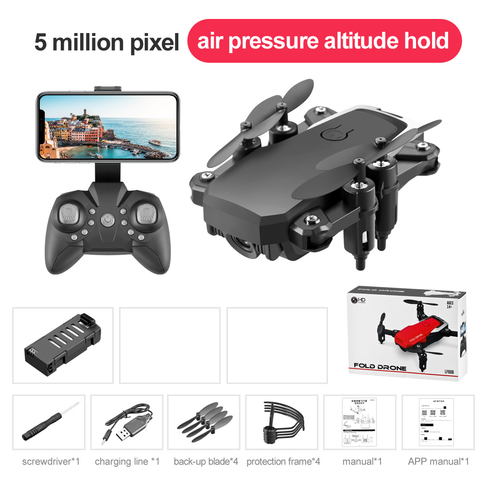 LF606 Mini Drone with Camera Altitude Hold RC Drones with Camera HD Wifi FPV Quadcopter Drone RC Helicopter 5M