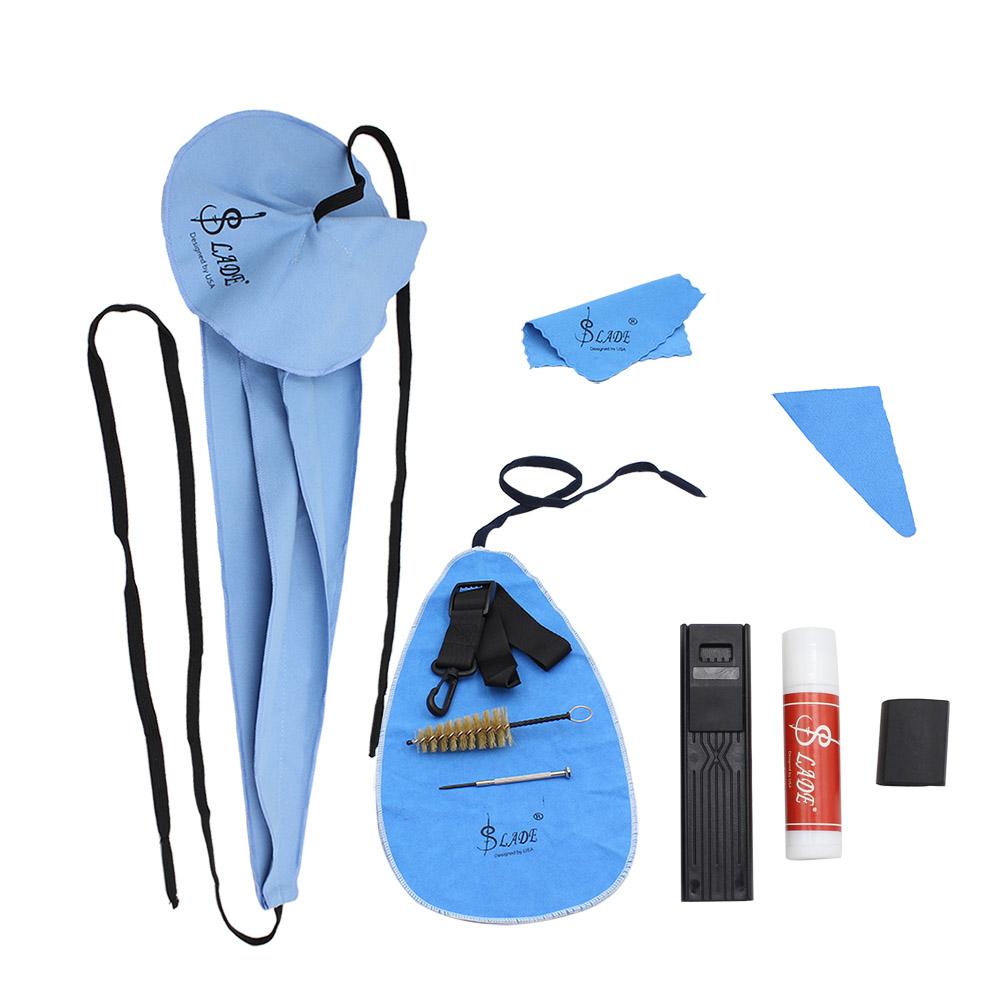 10Pcs/Set Saxophone Cleaning Kit Sax Clean Cloth Mouthpiece Brush Belt Mini Screwdriver Set Saxophone Accessories blue+black_10pcs/set