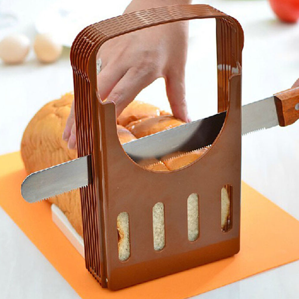 Practical Bread Cutter Loaf Toast Slicer Cutting Slicing Guide Kitchen Tool Brown