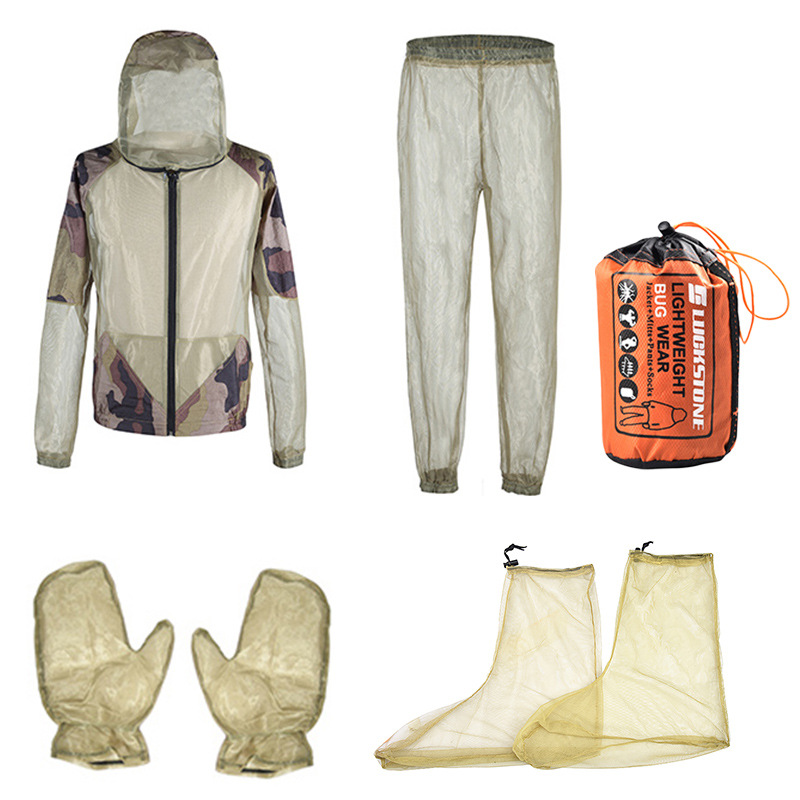 Men Quick-drying Breathable Mesh Net Insect Suit Anti Partial Suit Mosquito Clothes Partial One Suit Army green fight camouflage (four-piece set)_S/M
